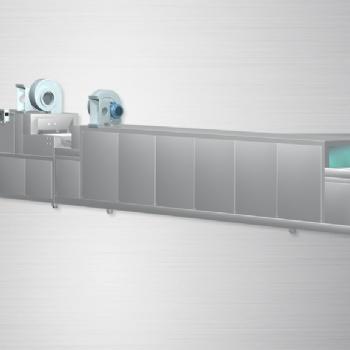 YZ-605清洗、烘干、消毒一体型网带平放式商用洗碗机