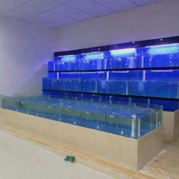 广州玻璃海鲜鱼池定做公司 广州大排档海鲜池定做