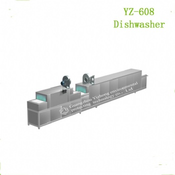 YZ-608全自动大型商用洗碗机清洗烘干消毒一体机厂家