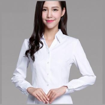 白色女款时尚修身衬衫商务正装衬衣多款多色现货供应可团体定制
