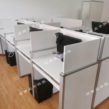学校多媒体培训桌 升降屏风电脑桌 电动升降考试桌